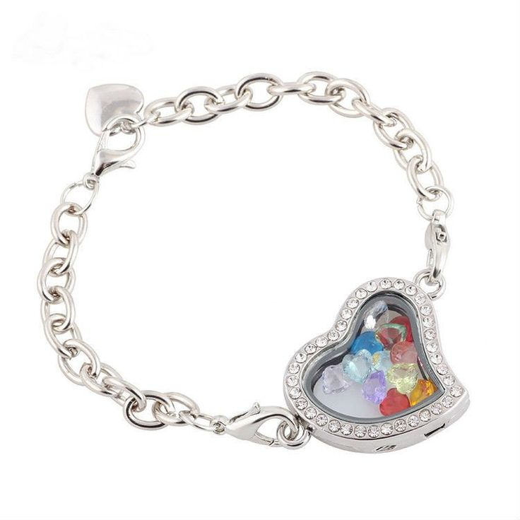 Rhinestone Heart Floating Charm Bracelet With 12 Birth Month Gems Offer