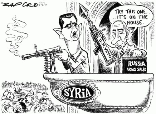 ZAPIRO's Mail & Guardian cartoon illustrates the extent of Russia's collusion in Syria's war against its own people.
