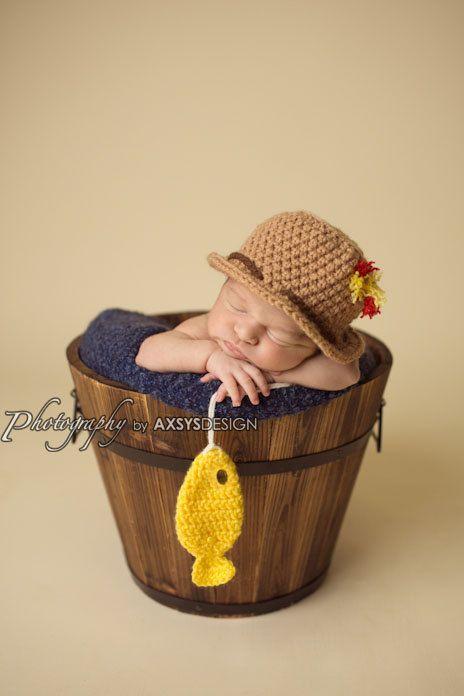 Crochet fisherman set fishing hat fish prop baby boy for Toddler fishing hat