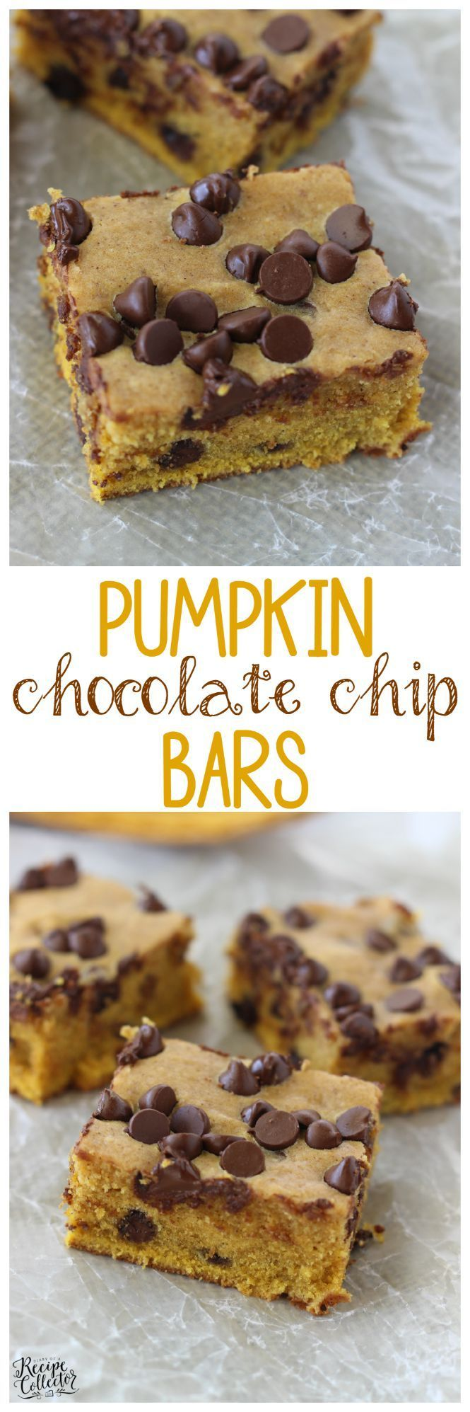 Pumpkin Chocolate Chip Bars - A quick and easy cookie bar perfect for Fall!