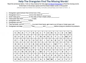 Play this free hidden words puzzle game on Orangutans for Kids, click here: http://easyscienceforkids.com/orangutans-worksheet-free-to-download-printable-hidden-words-puzzle-game-for-kids/