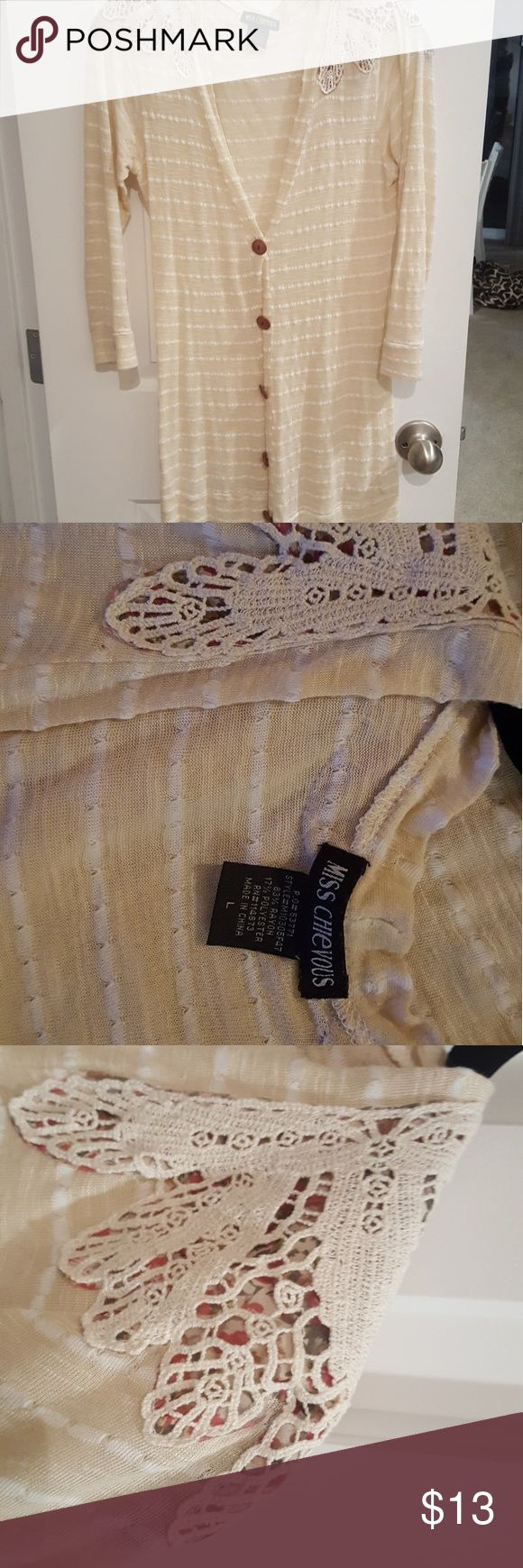"Miss Chievous Cardigan Beige and White Striped cardigan with crochet detailing and flower pattern underneath.  Barely worn, no flaws, smoke and pet free home.  I'm 5'8"" 120 pounds and this is a perfect fit for something a little looser. Miss Chievous Sweaters Cardigans"