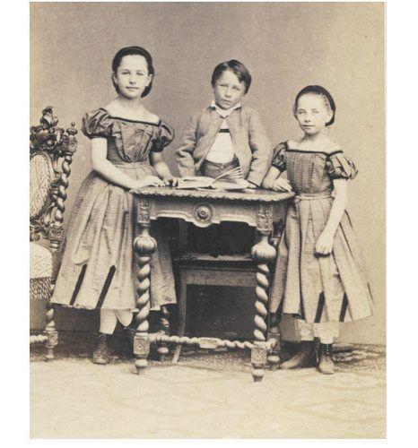 Pretty Little Girls w Cute Boy Fancy Dress CDV Photo 1860s Child Fashion   eBay