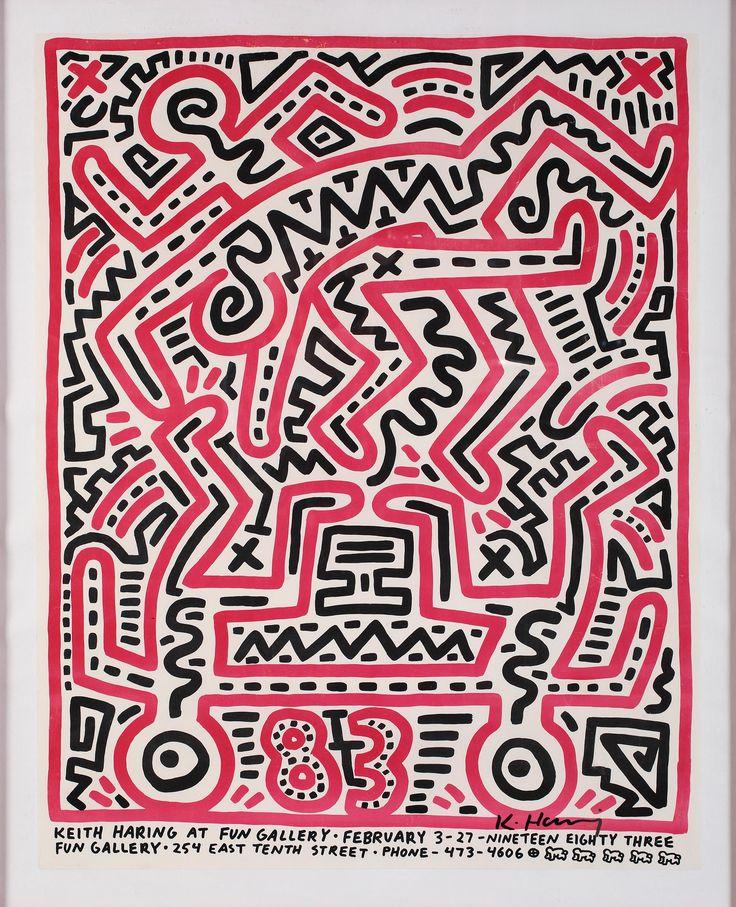 Fun Gallery, 1983, Offset a colori su carta, Cm. 73,7 x 58,4  EDIZIONE: Firmata sul fronte in basso a destra. Manifesto realizzato per l'esibizione alla 'Fun Gallery' dal 3 al 27 Febbraio 1983, New York. Pubblicato nel catalogo 'Keith Haring' Jeffrey Deitch, Suzanne Geiss Julia Gruen in cooperation with The Estate of Keith Haring, Rizzoli International Publications, Inc. NY, 2008.