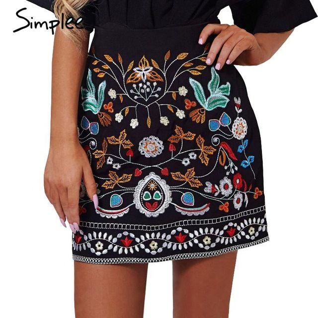 Simplee Retro nakış siyah çiçek kısa etek Rahat sonbahar kış yüksek bel ince kadın etek Vintage 90'lı mini etekler