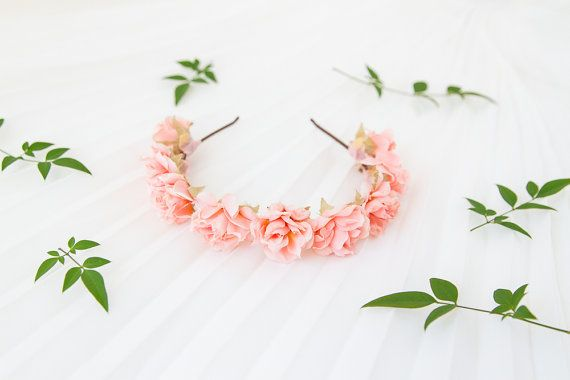 romantic pastel rose headband // pale pink  dainty by kisforkani