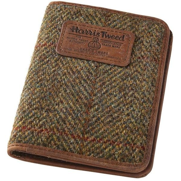Harris Tweed & Leather Passport Wallet ($37) ❤ liked on Polyvore featuring men's fashion, men's bags, men's wallets, mens leather front pocket wallet, mens front pocket wallet, mens travel wallet, mens leather wallets and mens leather travel wallet