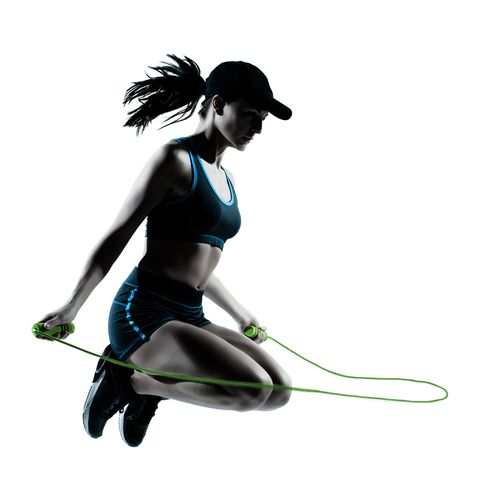 A simple #jumprope can help you get in shape. To find the right rope length, step on the center of the rope and pull the ends up—the handles should come up to your armpits. Keep your knees soft, spine tall, abs pulled in and elbows by your waist. Gaze forward and begin bouncing with both feet—you only need to come up a couple of inches off the floor for the rope to pass under your toes. Jump as long as you can, then jog in place to recover before jumping again.: Floor, Workout Stuff, Rope Length, Exercise, Place, Simple Jumprope