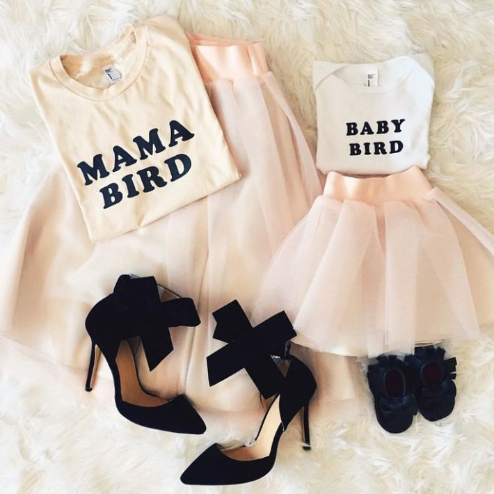 Jupon en tulle : Mommy and me outfits tulle skirt bow shoes pink tulle skirts @blisstulle
