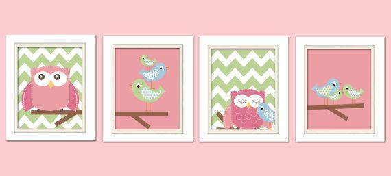 Nursery Quad, Pink and Green Nursery, Owl Nursery, bird nursery, Set of 4 8X10, Pink, Green, Blue