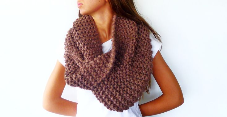 Oversized knit scarf in tan. Thick infinity scarf. Chunky knit cowl. Women's winter scarves. Unique handmade scarves.  (55.30 EUR) by KEENbyAM
