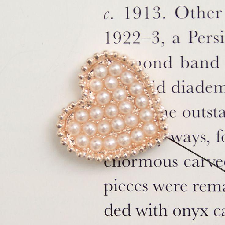Men's Accessories Cubic Diamond Pearl Prom Heart Boutonniere Brooch Corsage Pin #hellobincom