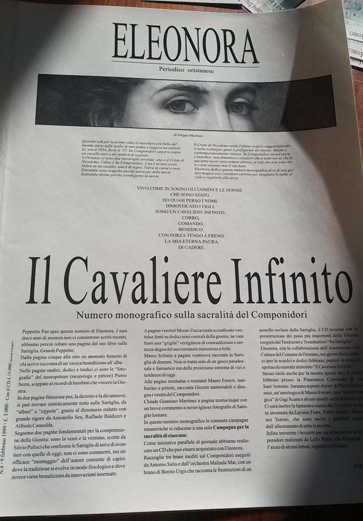 Eleonora - Periodico Oristanese; prima pagina del numero monografico sulla sacralità del #Componidori - febbraio 1999 - #Sartiglia #Oristano
