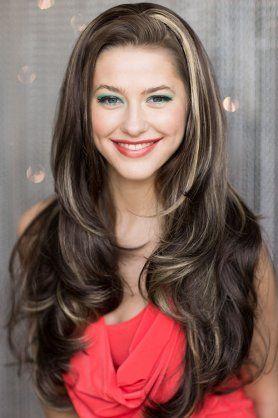 Half wig hairpiece (3/4 wig) brown, blonde highlights: Bronte