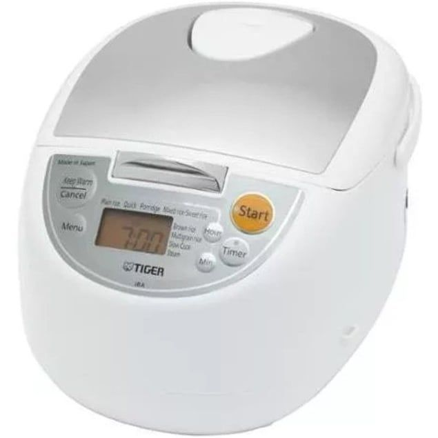 Tiger JBA-T10U-WY Micom Rice Cooker with Food Steamer and Slow Cooker (White)