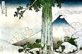 Obra:Fuji Jama o de las olas. Aquí, la desigualdad entre la pequeñez de los hombres y el tamaño del árbol subraya la superioridad de la naturaleza  Autor: Hokusai
