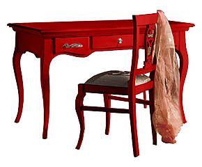 Scrivania in legno massiccio Erica rosso - 130x78x70 cm