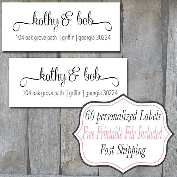 60 Personalized Return Address Labels  White by iDesignsbyKathy