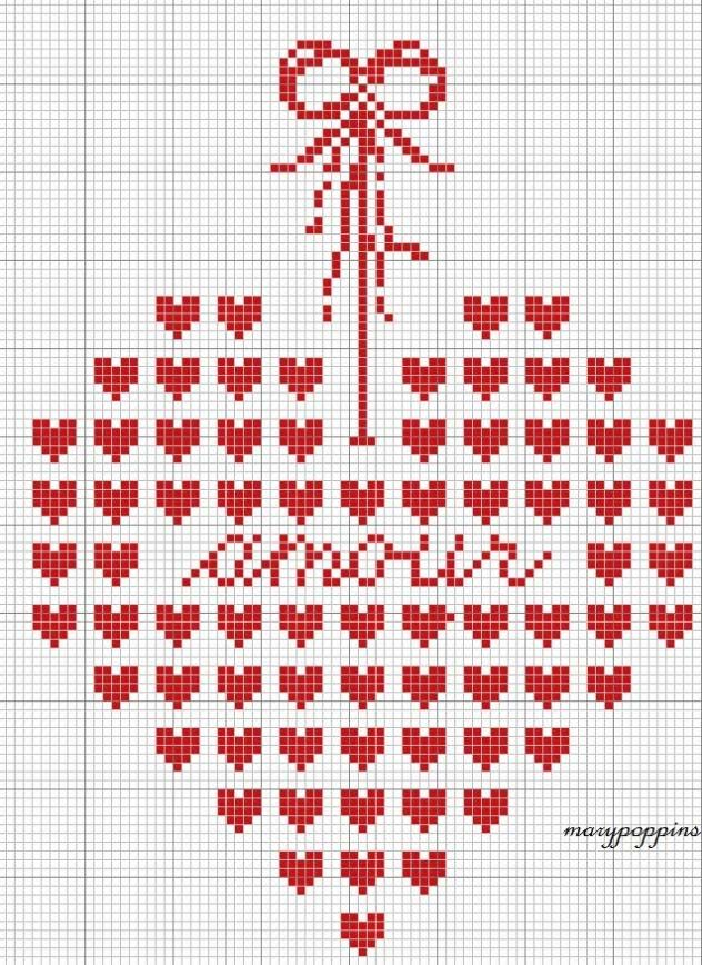 Embroidery, cross stitch pattern, heart, free chart