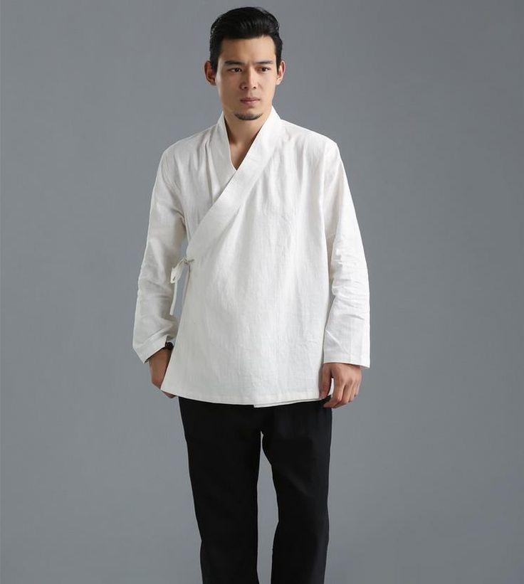 New-Fashion-Mens-Long-Sleeve-Shirt-coat-color-pure-hemp ...