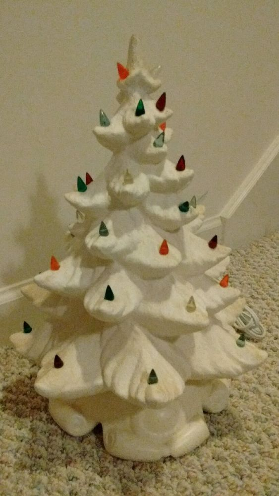 "VINTAGE CERAMIC CHRISTMAS TREE 16"" LIGHTED COLORED PEGS MULTI-COLOR LIGHTS RETRO"