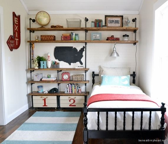 Are you cramming for space in a bedroom? Shelves above the bed were our solution in our DIY home makeover!