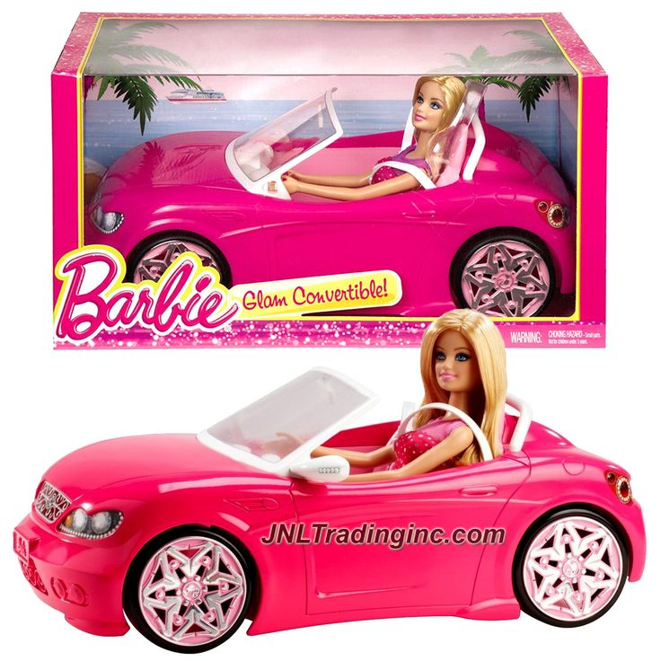 """Barbie Glam Series 12 Inch Doll Vehicle Playset - GLAM CONVERTIBLE (BJP38) with Barbie Doll (Car Dimension: 14"""" x 7-1/2"""" x 5"""")"""