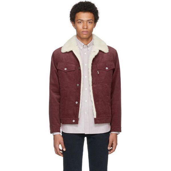 Maison Kitsuné Burgundy Corduroy Trucker Jacket (5.625.735 IDR) ❤ liked on Polyvore featuring men's fashion, men's clothing, men's outerwear, men's jackets, burgundy, mens corduroy jacket and mens burgundy bomber jacket