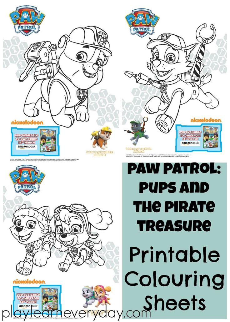 A review and giveaway of the new Paw Patrol: Pups and the Pirate Treasure DVD including fun Paw Patrol colouring sheets of Rubble, Skye and Everest, and Rocky.