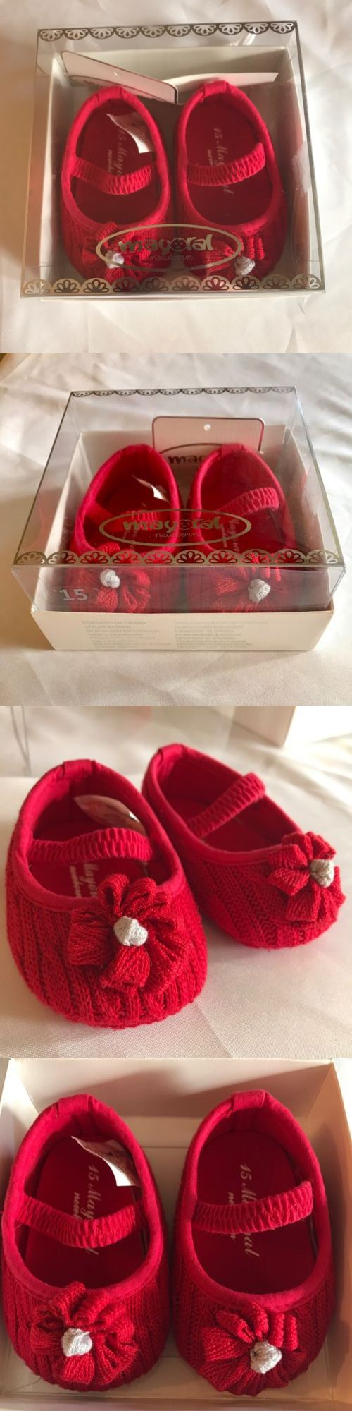 Baby Girls Shoes: Mayoral Eu 15 Us 0 Baby Girls Newborn Infant Red Sweater Crib Shoes BUY IT NOW ONLY: $8.99