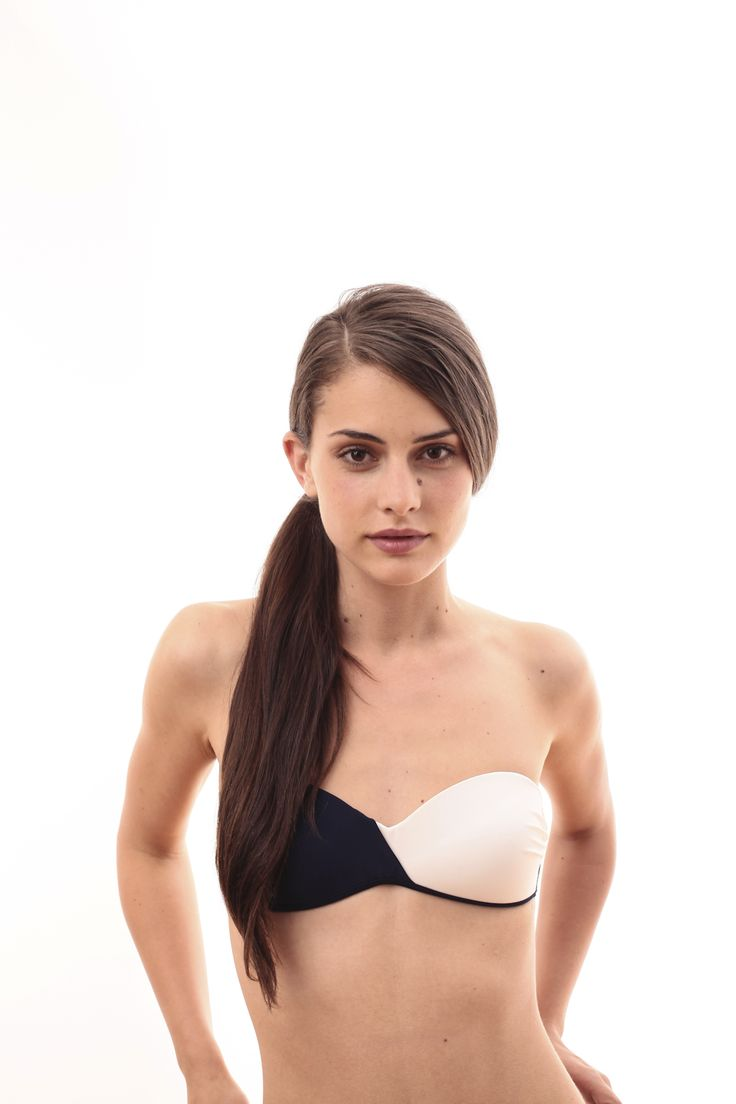 Navy blue and white bandou bikini top @pelsoswimwear
