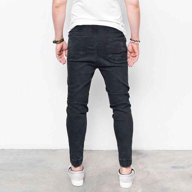 Fashion New Brand Men's Harem Jeans Legging Denim Pants Elastic Feet Pants Men Hip Hop Rap Blue Jeans Skinny Jumpsuit