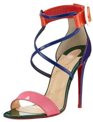 Christian Louboutin Choca Colorblock Red Sole Sandal, Multi - $845.00