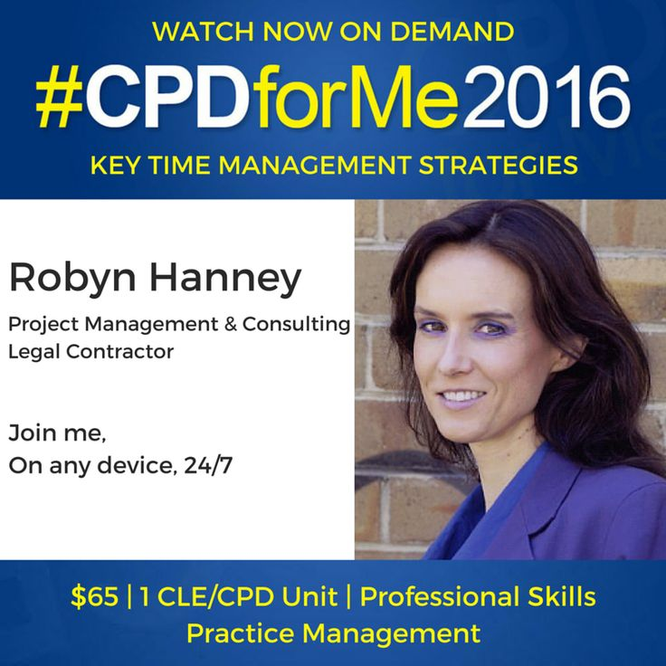 #auslaw $65 Time Mngment Strategies http://bit.ly/CPD-TimeMgt @CPDforMe 1 CPD unit @robynhanney On-Demand
