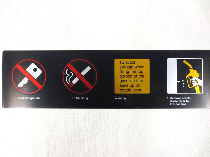 "Vintage Gas Pump Metal Sign Decal 25 x 4"", Turn Off Ignition, No Smoking Warning"