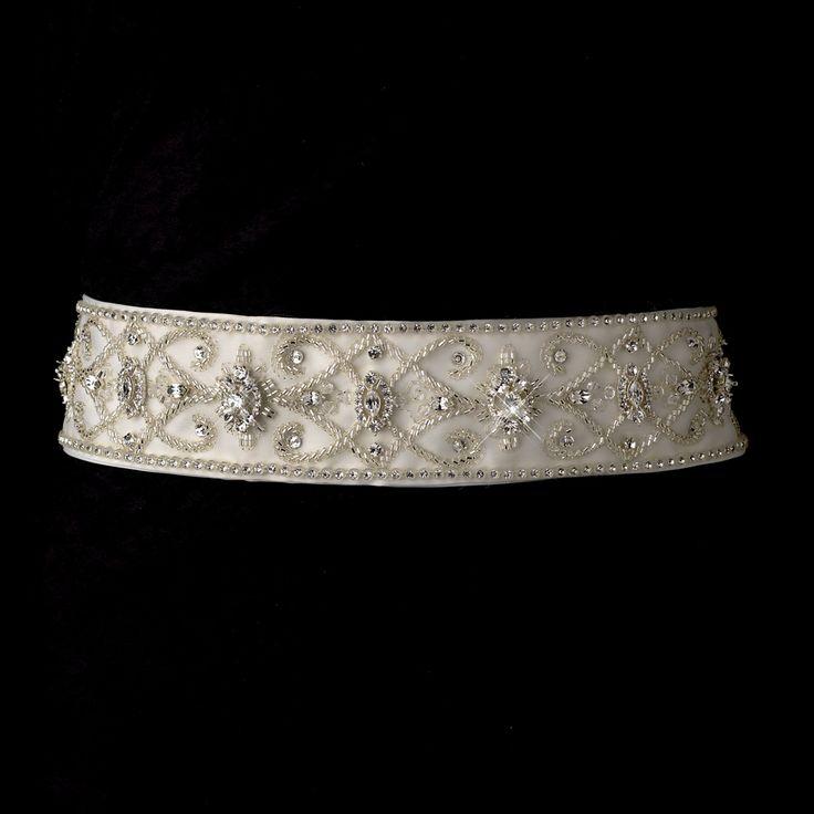 Vintage look beaded rhinestone wedding dress belt sash for Vintage wedding dress belts