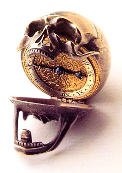 Memento Mori Skull Pocket Watch, made in the 17th century, The Ashmolean Museum, University of Oxford.