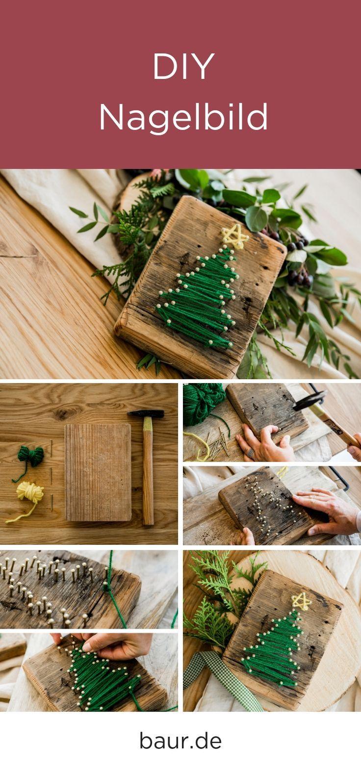 DIY: Nagelbild Weihnachtsbaum, Weihnachtsdekoration selbst gemacht, DIY Geschenk, DIY Dekoration, #Christ … – Diy Deko İdeen