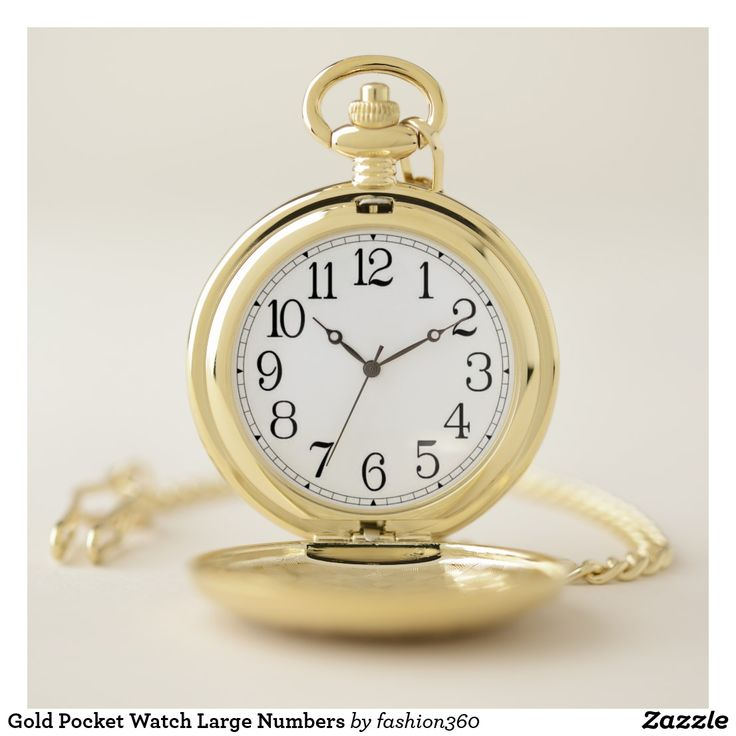 Gold Pocket Watch with Large Numbers.