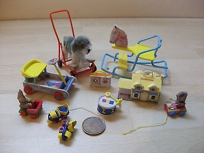 9 tiny miniature vintage replica *fisher price ~ Triang* toys, 1/12 dolls house