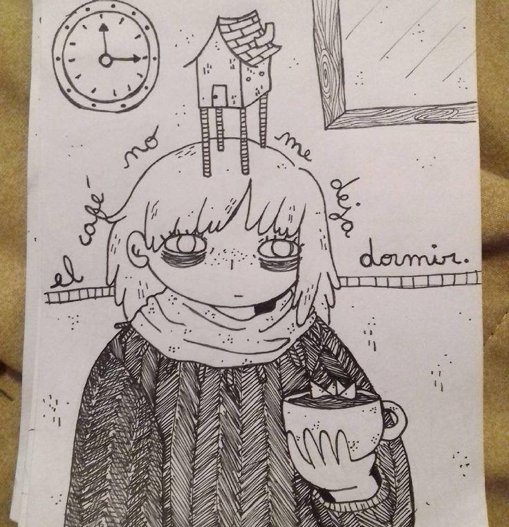 """42 Me gusta, 1 comentarios - Ñaña (@ferniska) en Instagram: """"""""el café no me deja dormir"""" y aun así lo tomo en la noche :c  #doodle #draw #blackandwhite #dibujo…"""""""