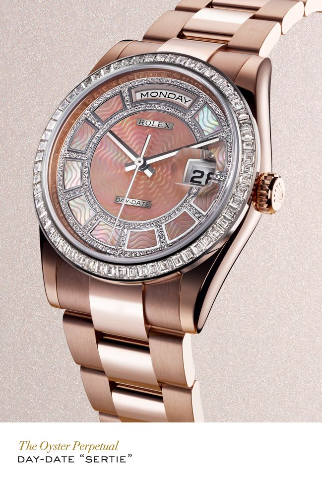 """Rolex Day-Date """"Sertie"""" in Everose gold with a bezel set with baguette-cut diamonds, a diamond-set pink mother-of-pearl carousel dial and Oyster bracelet. #RolexOfficial"""