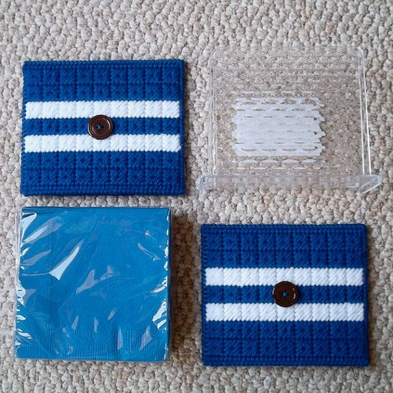 Plastic Canvas: Blue Striped Napkin Holder by Read…