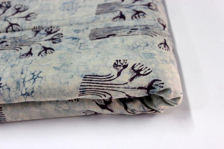 1 Yard Cotton INDIGO BLUE Hand Block Print Fabric Natural Dyes Sanganer Indian #Handmade