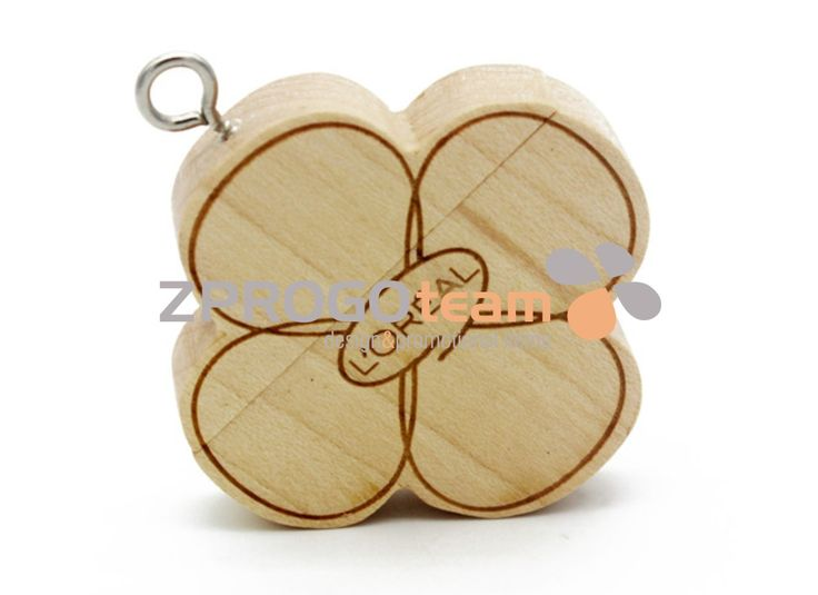 NEW: Promotional wooden USB flash drive in cloverleaf design.