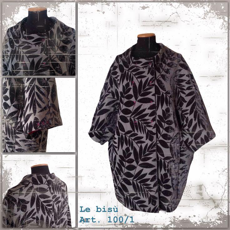 """""""Le bisù"""" Cappotto kimono  Otto bottoni Con tasche Tessuto operato in velluto"""