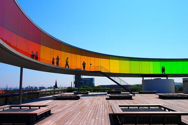 Circular panoramic walkway, roof of ARoS Aarhus Art Museum. Denmark