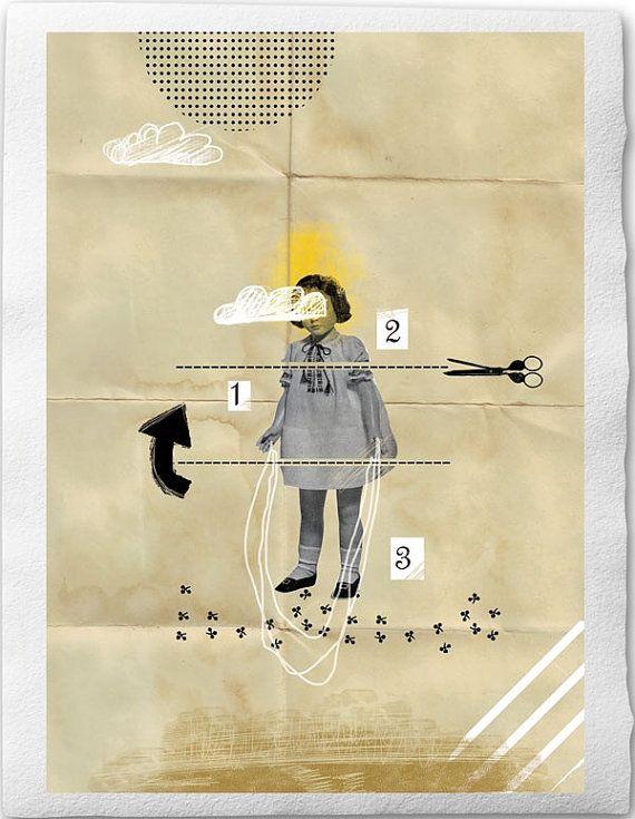 Skip roping bambola, Fine Art Collage illustrazione stampa 8 x 12 pollici, bambina sulla carta piegata marrone