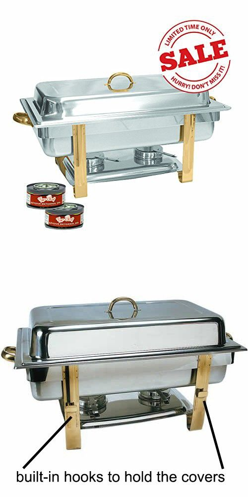 Tiger Chef 8 Quart Full Size Buffet Chafing Dish Set With Gold Accents And Gel Fuel