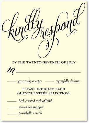 Signature Ecru Wedding Response Cards Until Forever - Front : Black